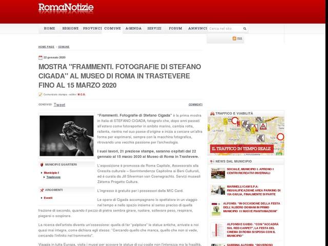 """Mostra """"Frammenti. Fotografie di Stefano Cigada"""" al Museo di Roma in Trastevere fino al 15 marzo 2020"""