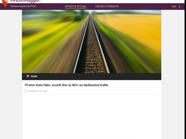 Promo treni Italo: sconti fino al 40% su tantissime tratte