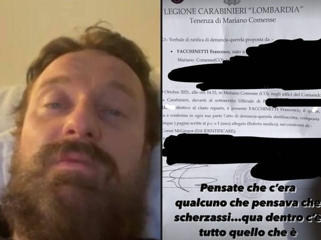 """Francesco Facchinetti mostra la denuncia a Conor McGregor: """"Qualcuno non mi credeva"""""""