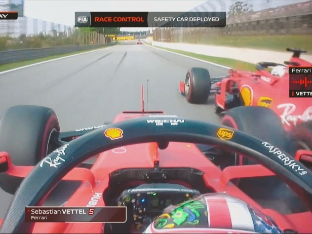 Incidente Ferrari in Brasile, i team radio di Vettel e Leclerc. VIDEO