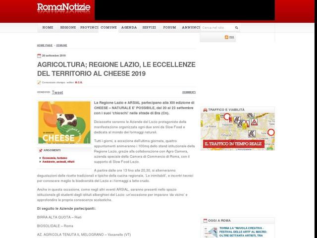 AGRICOLTURA; REGIONE LAZIO, LE ECCELLENZE DEL TERRITORIO AL CHEESE 2019