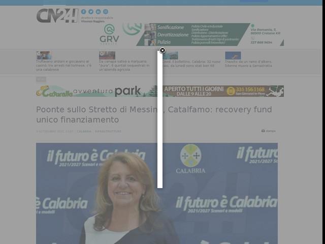 Poonte sullo Stretto di Messina, Catalfamo: recovery fund unico finanziamento