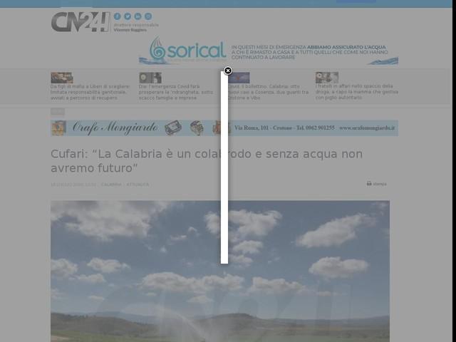 """Cufari: """"La Calabria è un colabrodo e senza acqua non avremo futuro"""""""