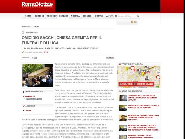 Omicidio Sacchi, chiesa gremita per il funerale di Luca