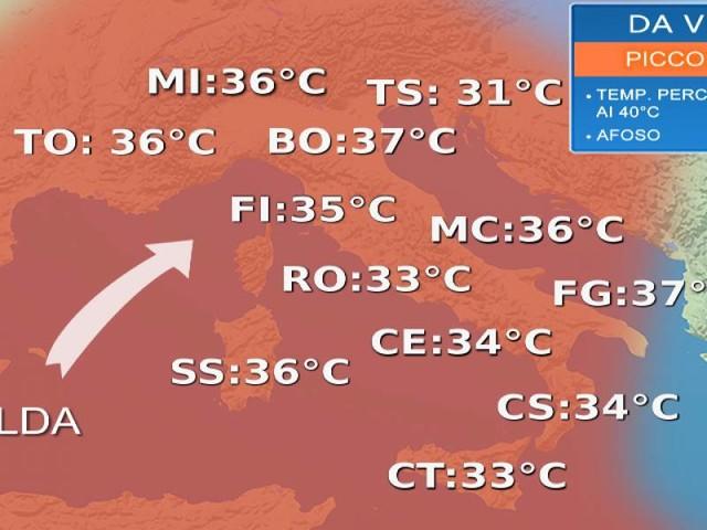 Meteo Italia- Ondata di caldo sull'Italia: picchi oltre i 35°C nel weekend