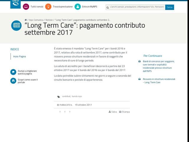 """""""Long Term Care"""": pagamento contributo settembre 2017"""
