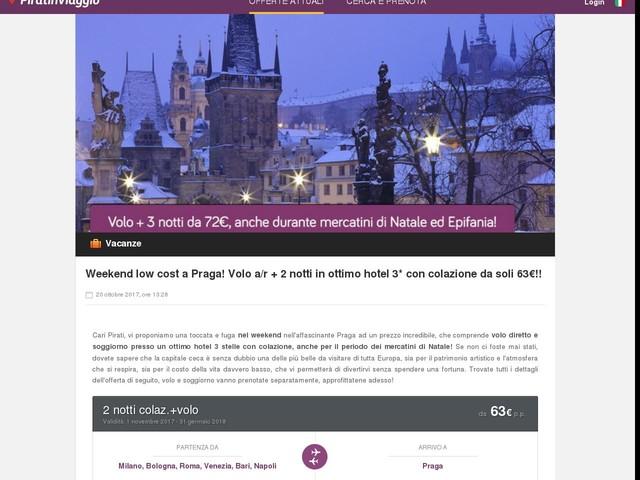 Weekend low cost a Praga! Volo a/r + 2 notti in ottimo hotel 3* con colazione da soli 63€!!