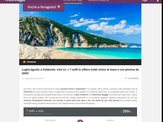 Luglio/agosto a Cefalonia: volo a/r + 7 notti in ottimo hotel vicino al mare e con piscina da 205€!