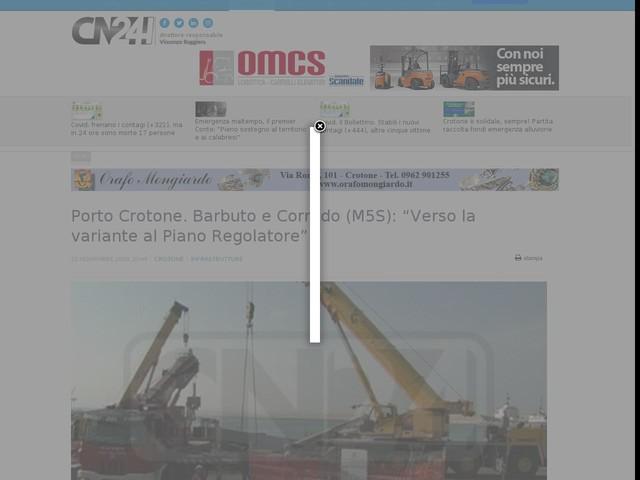 "Porto Crotone. Barbuto e Corrado (M5S): ""Verso la variante al Piano Regolatore"""