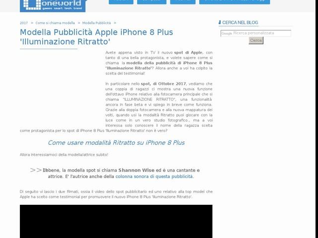 Modella Pubblicità Apple iPhone 8 Plus 'Illuminazione Ritratto'