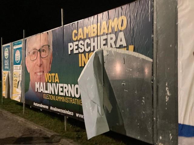 Peschiera, ancora vandalismi alla propaganda elettorale, questa volta colpiti i manifesti di Malinverno a San Bovio