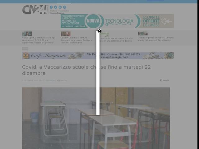 Covid, a Vaccarizzo scuole chiuse fino a martedì 22 dicembre
