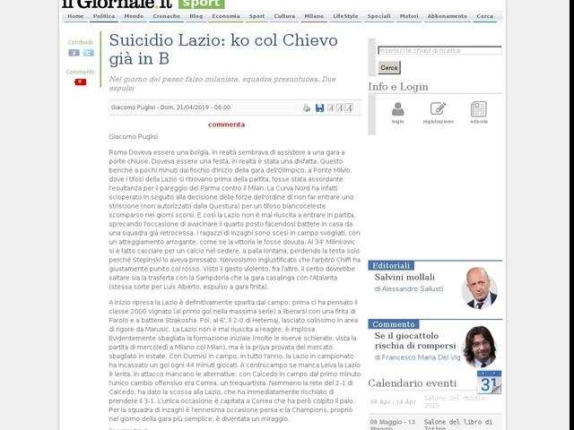 Suicidio Lazio: ko col Chievo già in B