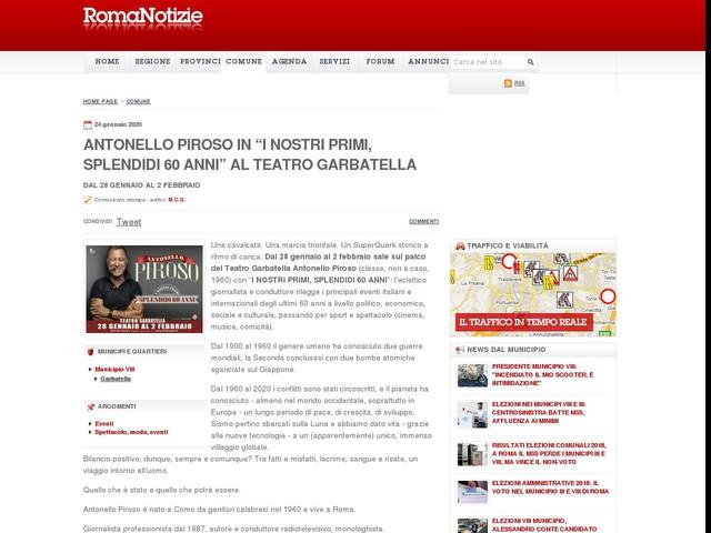 """ANTONELLO PIROSO in """"I NOSTRI PRIMI, SPLENDIDI 60 ANNI"""" al TEATRO GARBATELLA"""