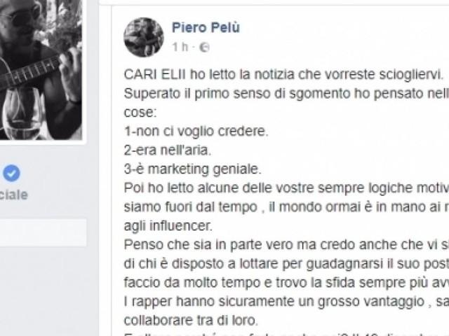 Piero Pelù su Facebook: 'Cari Elii, restate insieme'