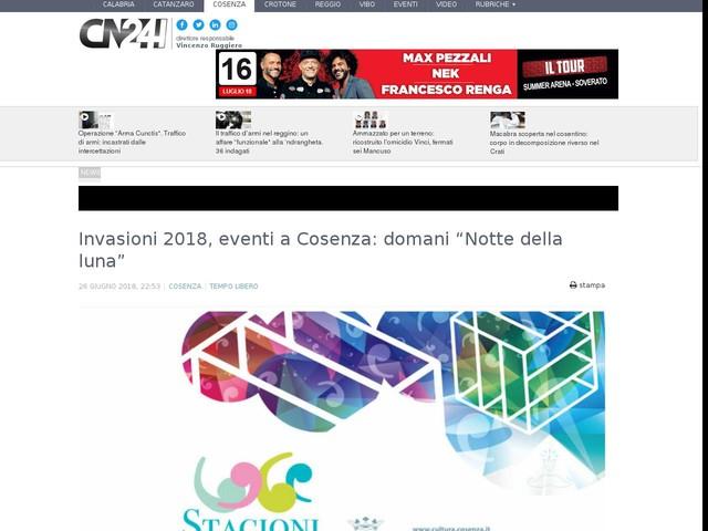 """Invasioni 2018, eventi a Cosenza: domani """"Notte della luna"""""""