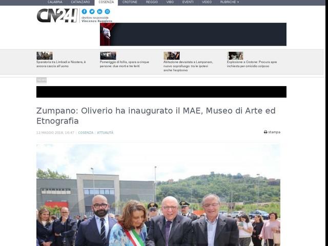 Zumpano: Oliverio ha inaugurato il MAE, Museo di Arte ed Etnografia