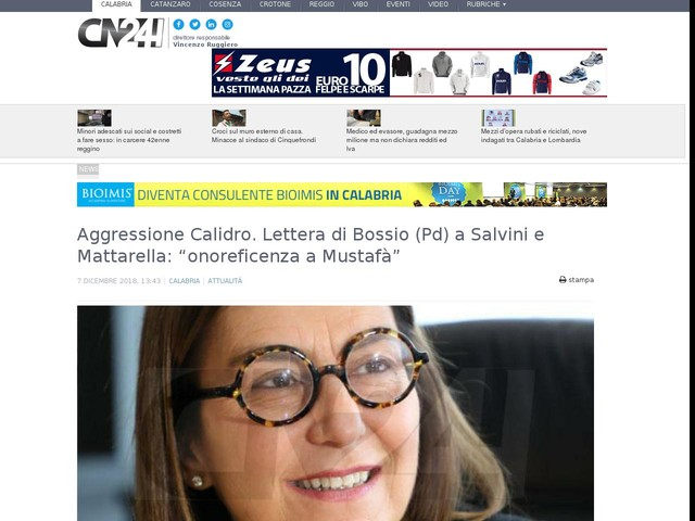 """Aggressione Calidro. Lettera di Bossio (Pd) a Salvini e Mattarella: """"onoreficenza a Mustafà"""""""