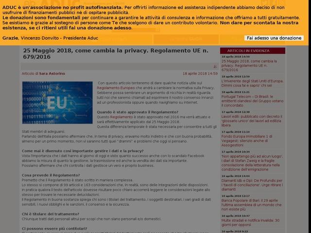 25 Maggio 2018, come cambia la privacy. Regolamento UE n. 679/2016