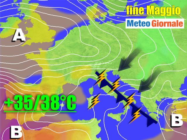 Meteo al 27 MAGGIO, ancora TEMPORALI con periodi di CALDO e FRESCO