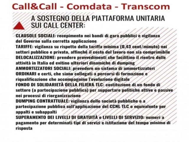 Call center, presidio dei lavoratori di Call&Call, Comdata e Transcom