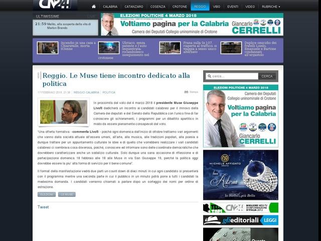 Reggio. Le Muse tiene incontro dedicato alla politica