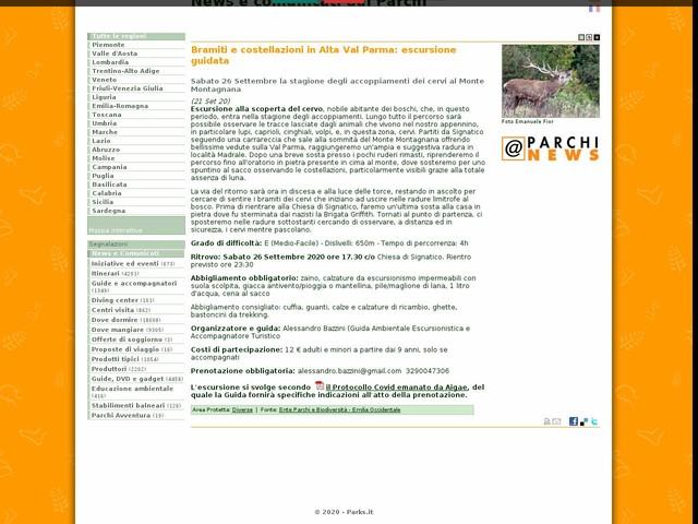 Ente Parchi e Biodiversità - Emilia Occidentale - Bramiti e costellazioni in Alta Val Parma: escursione guidata