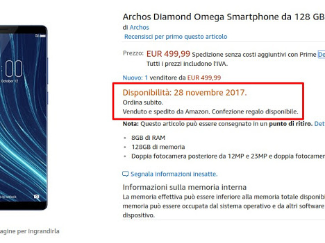 Archos Diamond Omega arriva su Amazon Italia: disponibile dal 28 novembre a 499 euro