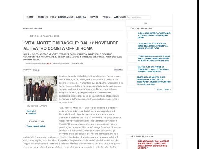 """""""Vita, Morte e Miracoli"""": dal 12 novembre al Teatro Cometa Off di Roma"""