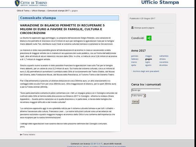 Variazione di Bilancio per circa 5 milioni di euro