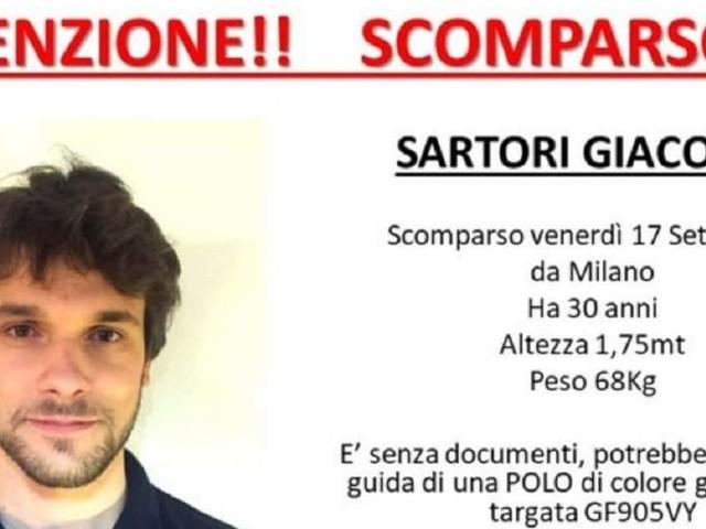 Giacomo Sartori, ritrovata l'auto a Casorate Primo (Pavia). L'ultimo segnale dal cellulare da Motta Visconti