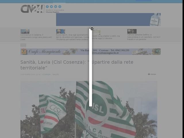 """Sanità, Lavia (Cisl Cosenza): """"Ripartire dalla rete territoriale"""""""