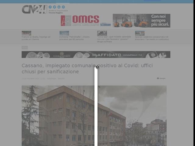 Cassano, impiegato comunale positivo al Covid: uffici chiusi per sanificazione
