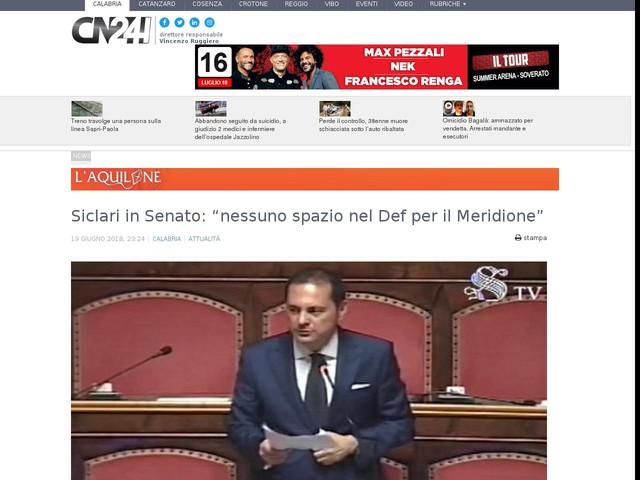 """Siclari in Senato: """"nessuno spazio nel Def per il Meridione"""""""
