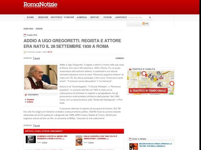 Addio a Ugo Gregoretti. Regista e attore era nato il 28 settembre 1930 a Roma