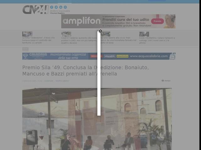 Premio Sila '49. Conclusa la IX edizione: Bonaiuto, Mancuso e Bazzi premiati all'Arenella