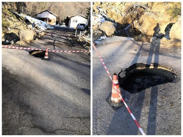 Mendatica, crolla l'asfalto: chiusa la strada. Il cedimento si è registrato in seguito all'alluvione che ha colpito la Valle Arroscia