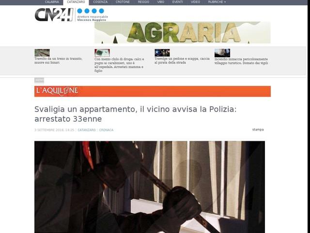 Svaligia un appartamento, il vicino avvisa la Polizia: arrestato 33enne