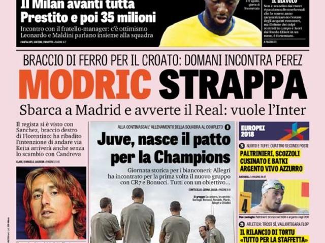 Gazzetta dello Sport – Modric strappa
