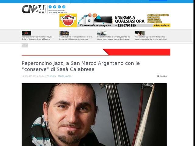 """Peperoncino Jazz, a San Marco Argentano con le """"conserve"""" di Sasà Calabrese"""