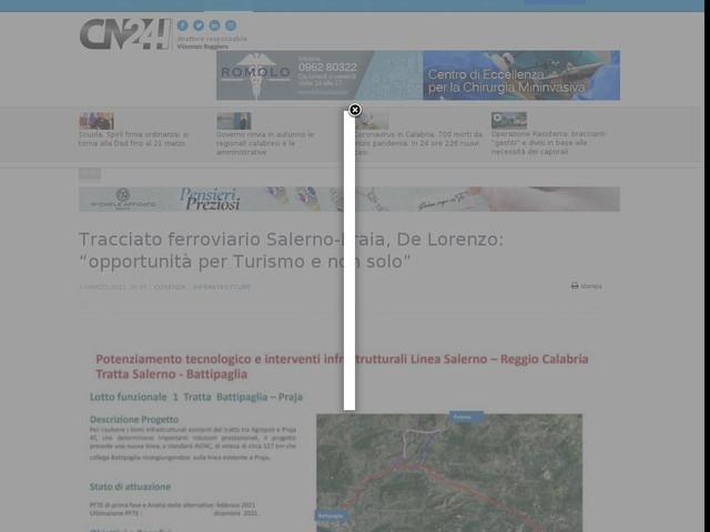 """Tracciato ferroviario Salerno-Praia, De Lorenzo: """"opportunità per Turismo e non solo"""""""