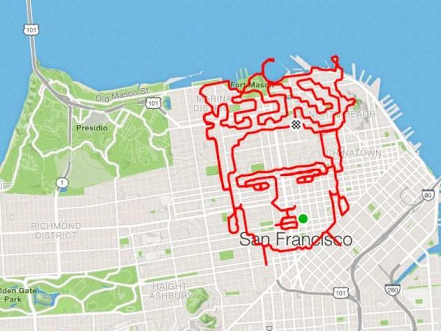 Un ritratto di Frida Kahlo sulla mappa di San Francisco. Il fenomeno della GPS Art