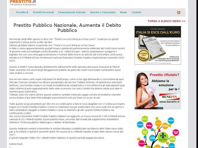 2019-01-17: Prestito Pubblico Nazionale, Aumenta il Debito Pubblico