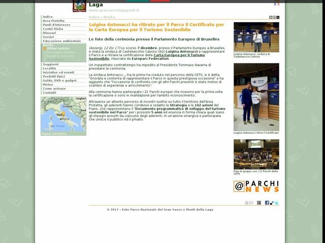 PN Gran Sasso - Luigina Antonacci ha ritirato per il Parco il Certificato per la Carta Europea per il Turismo Sostenibile