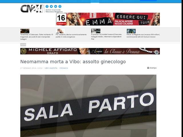 Neomamma morta a Vibo: assolto ginecologo