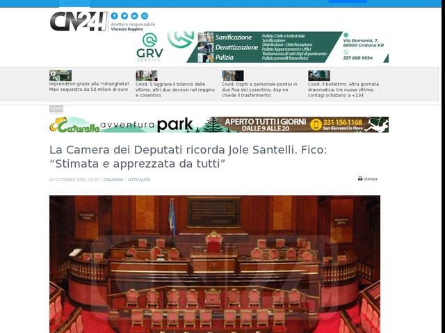"""La Camera dei Deputati ricorda Jole Santelli. Fico: """"Stimata e apprezzata da tutti"""""""
