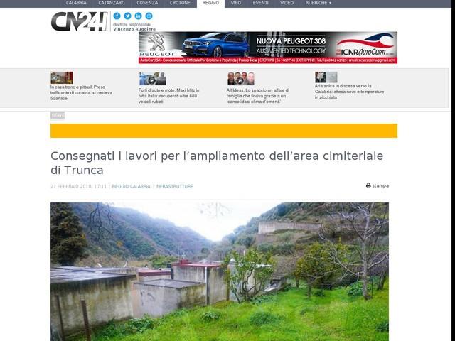 Consegnati i lavori per l'ampliamento dell'area cimiteriale di Trunca