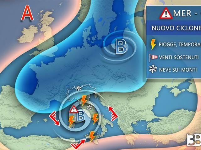 AVVISO meteo; MALTEMPO NON E' FINITA, nuovo CICLONE sull'Italia da mercoledì, ecco i dettagli