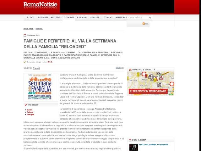 """FAMIGLIE E PERIFERIE: AL VIA LA SETTIMANA DELLA FAMIGLIA """"RELOADED"""""""
