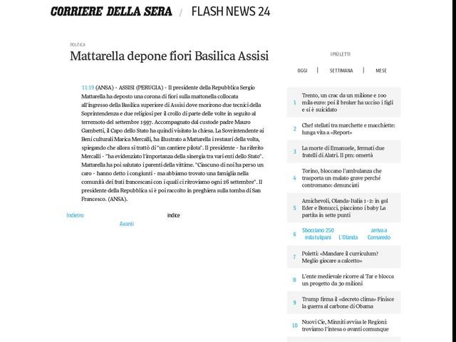 Mattarella depone fiori Basilica Assisi